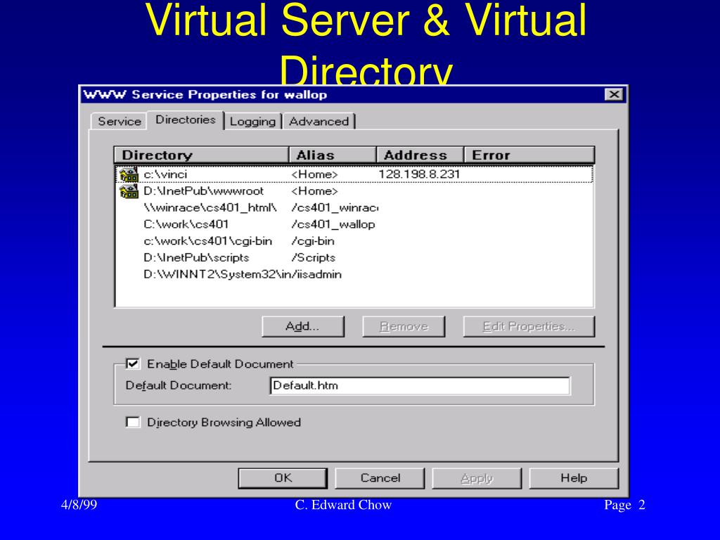 Virtual Server & Virtual Directory