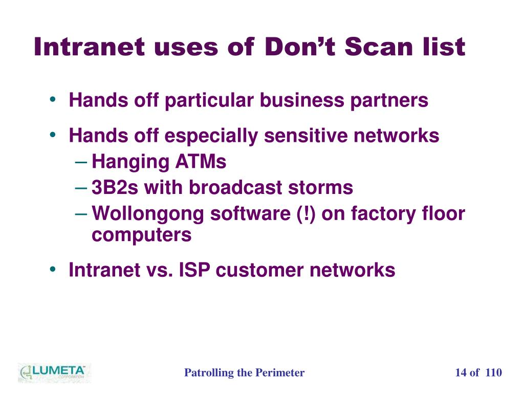 Intranet uses of Don't Scan list