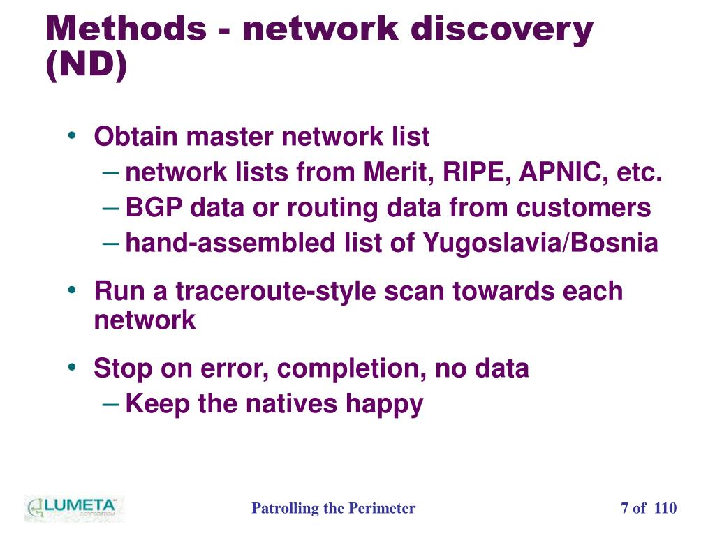 Methods - network discovery (ND)