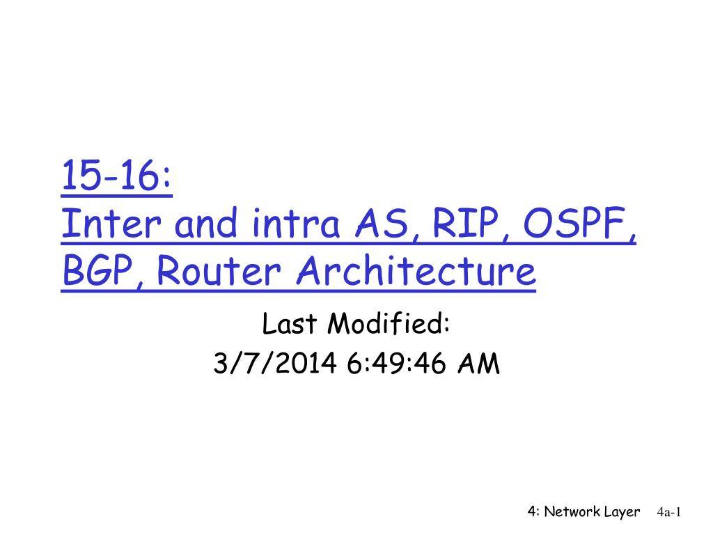 15 16 inter and intra as rip ospf bgp router architecture l.