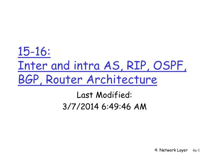 15 16 inter and intra as rip ospf bgp router architecture