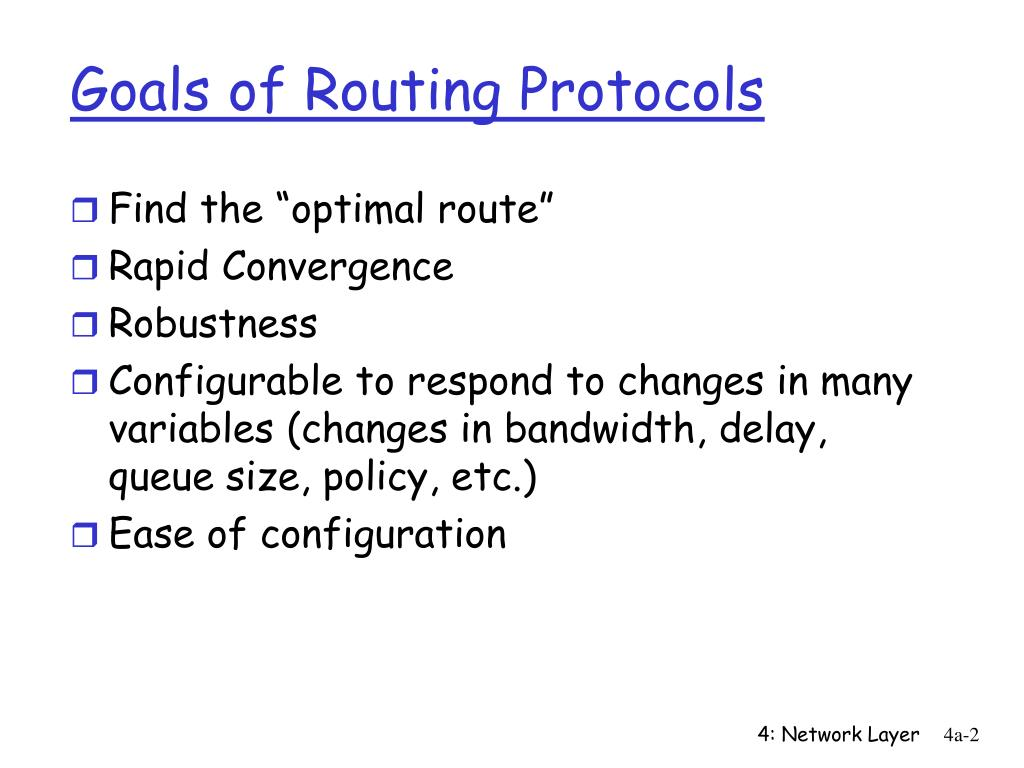 Goals of Routing Protocols