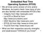 embedded real time operating systems rtos