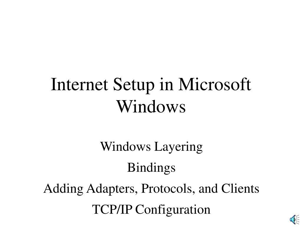 internet setup in microsoft windows l.