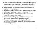 sip supports five facets of establishing and terminating multimedia communications