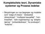 kompleksitets teori dynamiske systemer og prosess ledelse