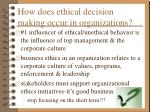 how does ethical decision making occur in organizations