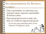 recommendations for business leaders