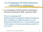 le campagne di informazione antiracket e antiusura
