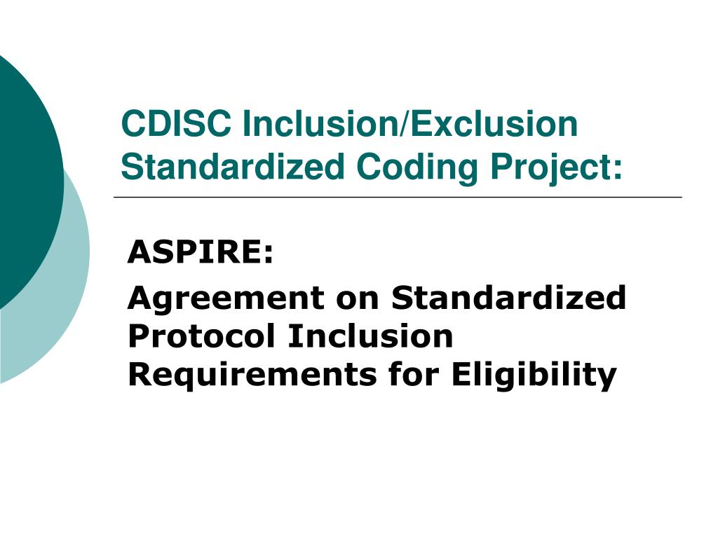 cdisc inclusion exclusion standardized coding project l.
