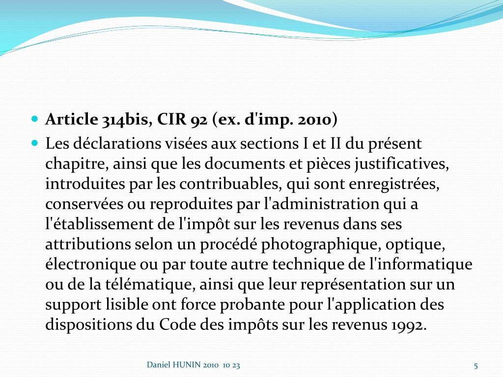 Article 314bis, CIR 92 (ex. d'imp. 2010)