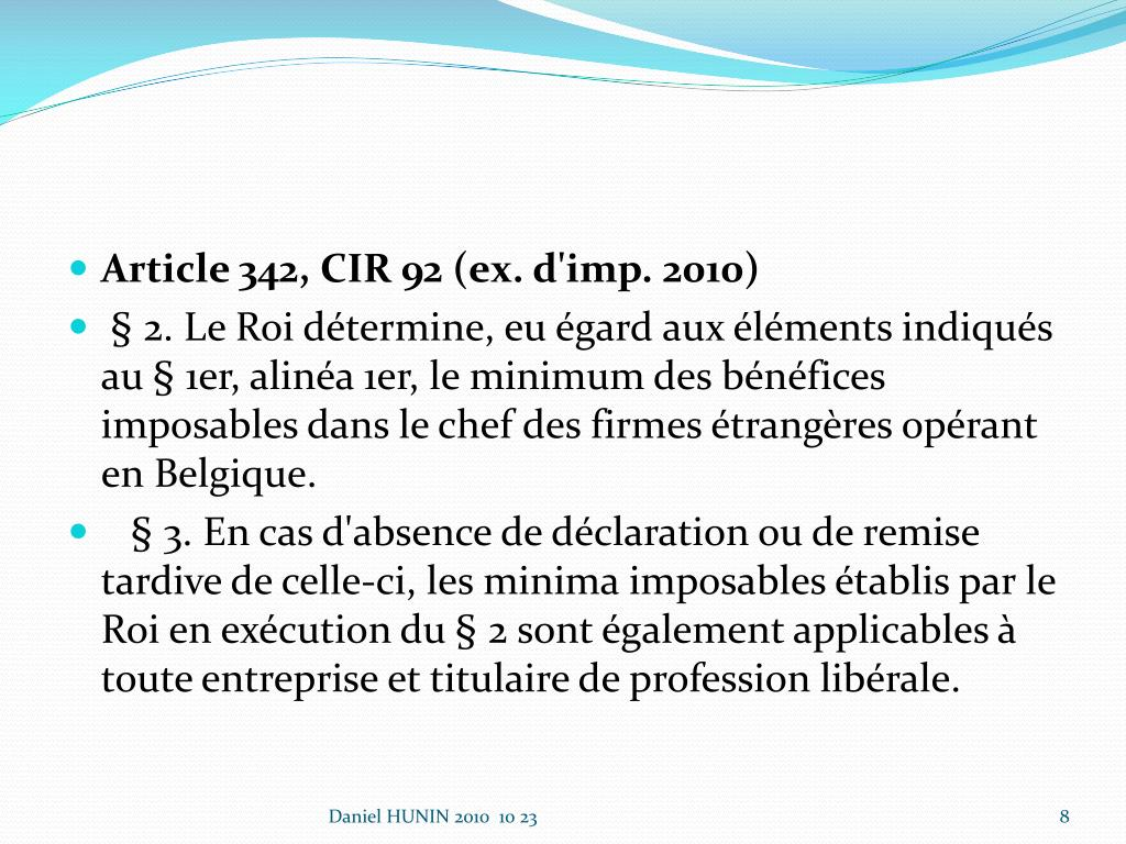 Article 342, CIR 92 (ex. d'imp. 2010)
