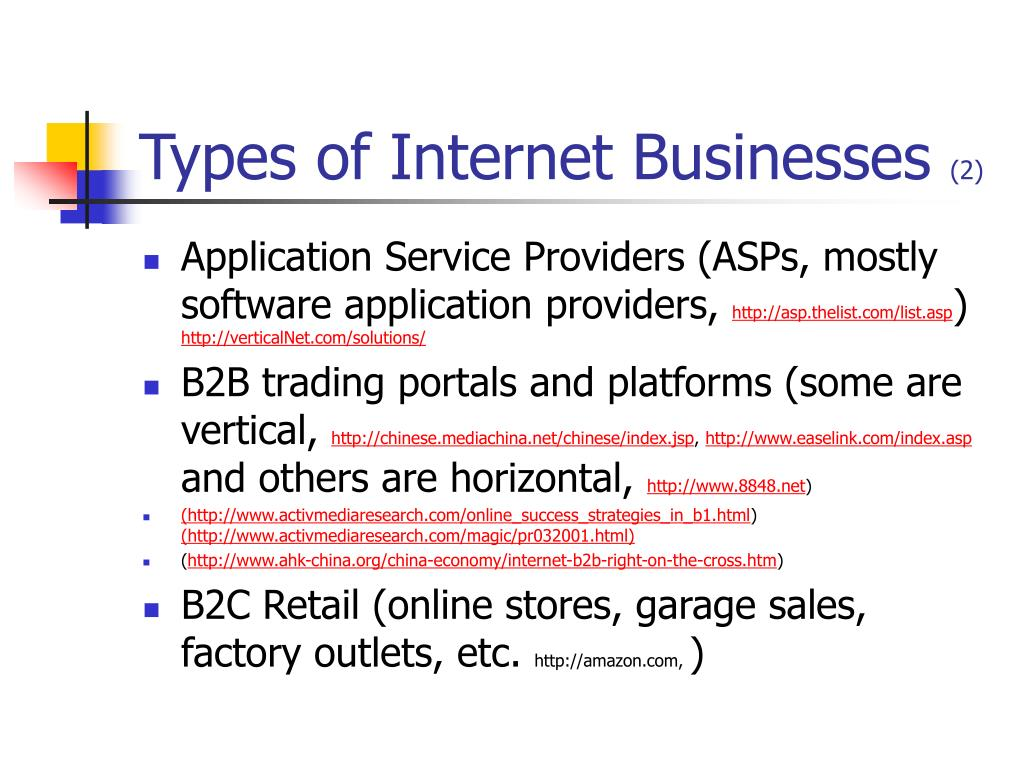 Types of Internet Businesses