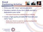 brand positioning activities