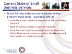 current state of small business services