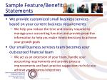 sample feature benefit statements