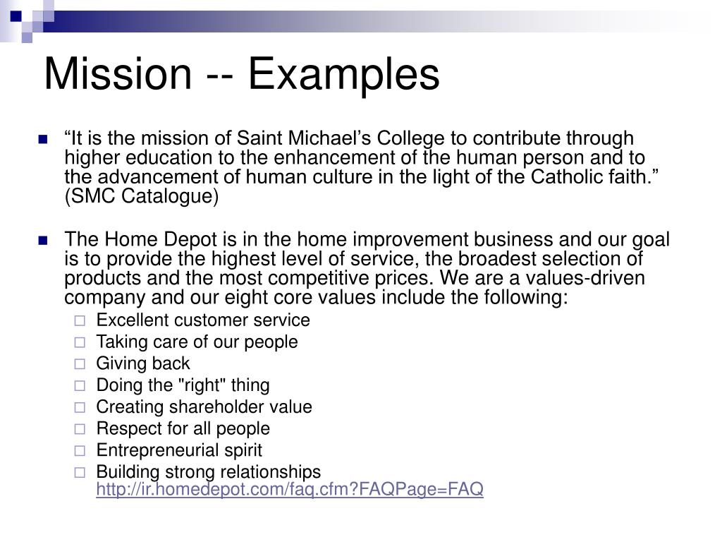 Mission -- Examples