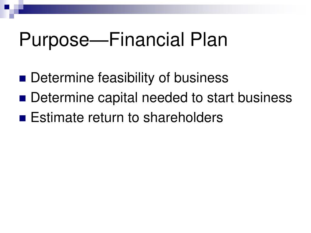 Purpose—Financial Plan