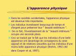 l apparence physique