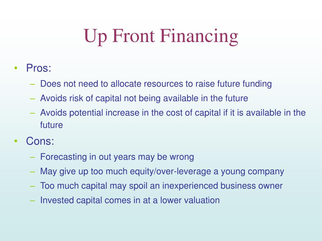 Up Front Financing