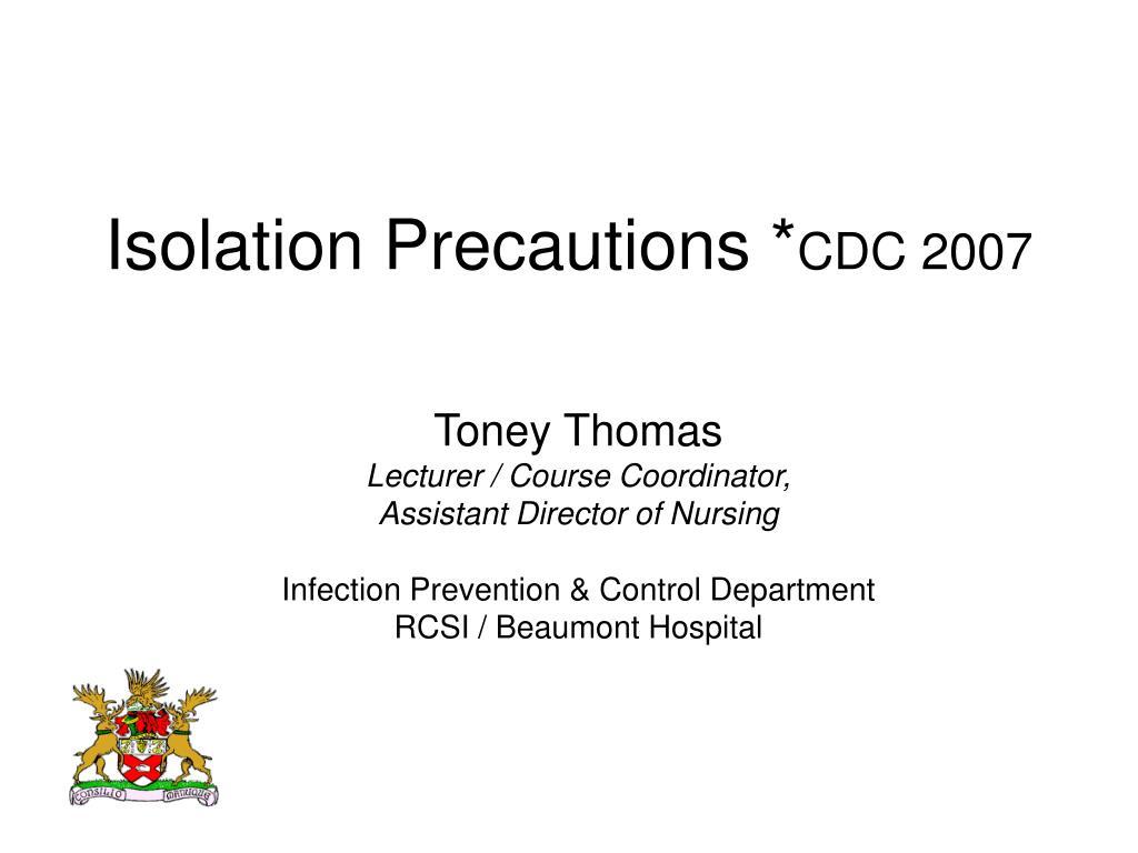 isolation precautions cdc 2007 l.