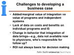 challenges to developing a business case