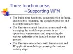 three function areas supporting wfm