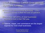 small businesses cannot grow without significant funding