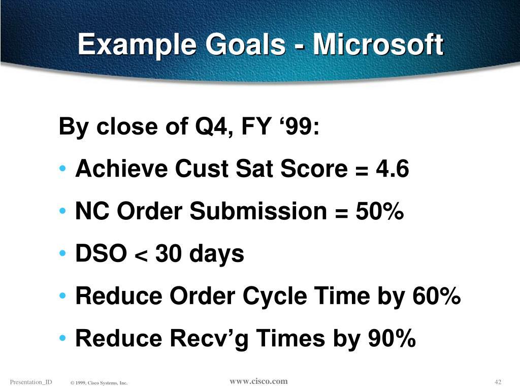 Example Goals - Microsoft