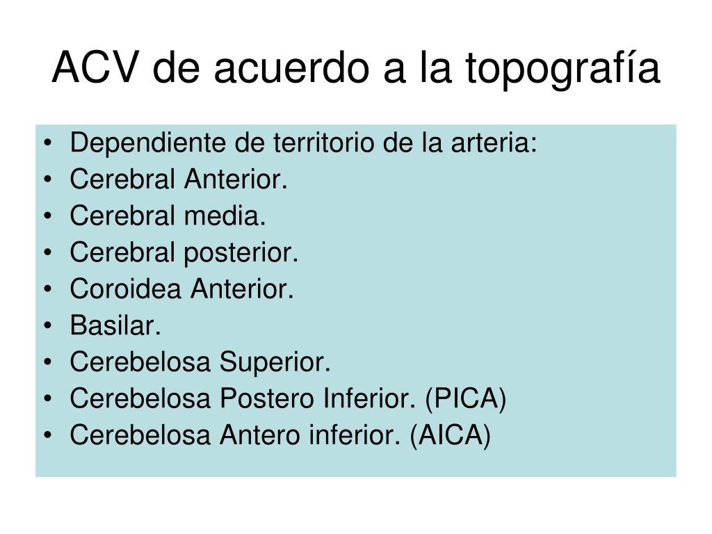 ACV de acuerdo a la topografía