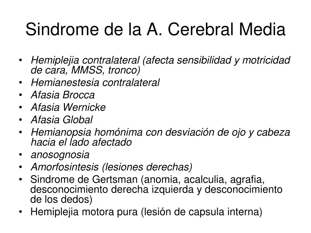 Sindrome de la A. Cerebral Media