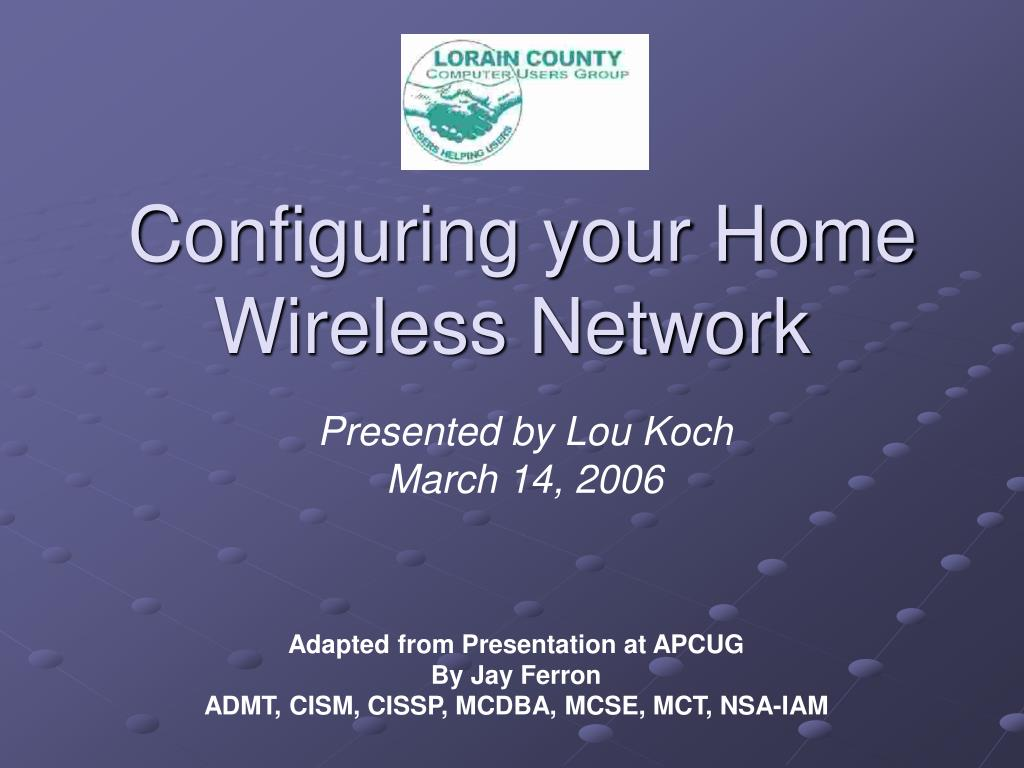 configuring your home wireless network l.