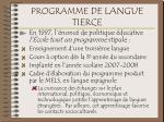 programme de langue tierce