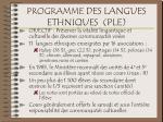 programme des langues ethniques ple