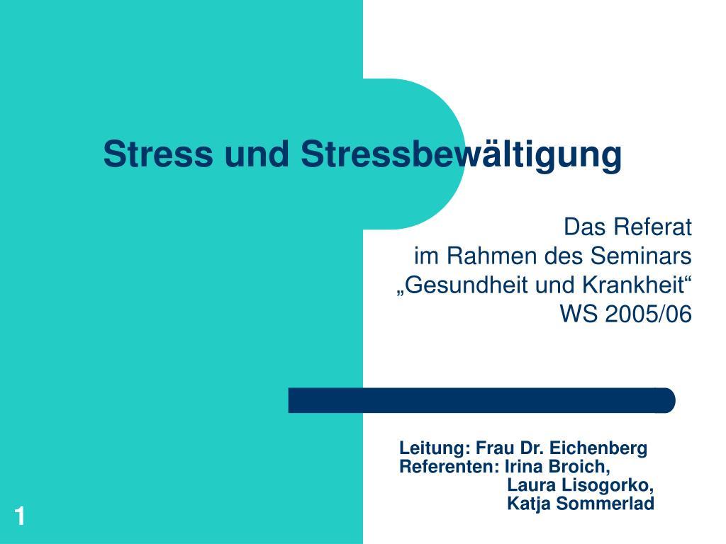 stress und stressbew ltigung l.