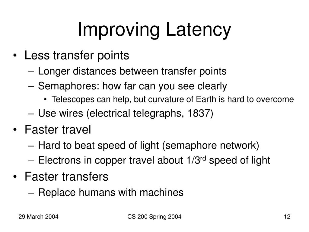 Improving Latency