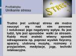 profilaktyka unikanie stresu