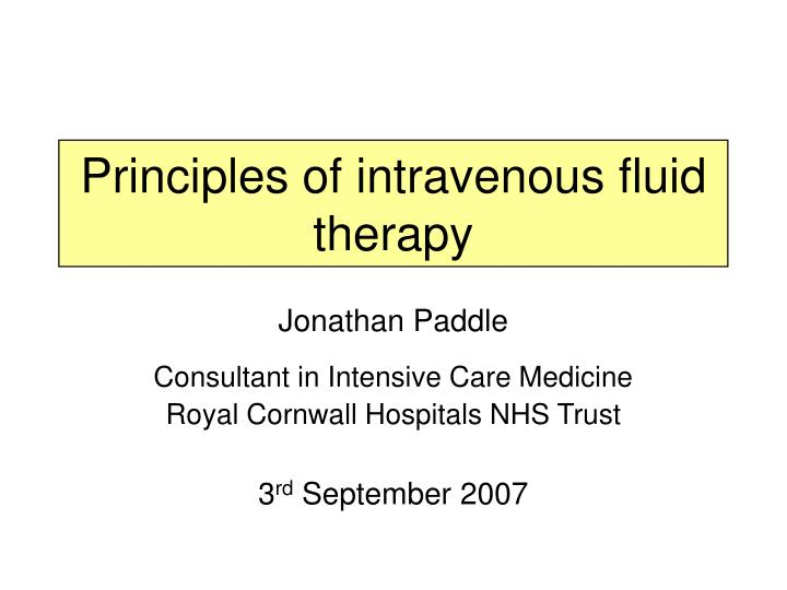 principles of intravenous fluid therapy n.