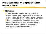 psicoanalisi e depressione dopo il 1925