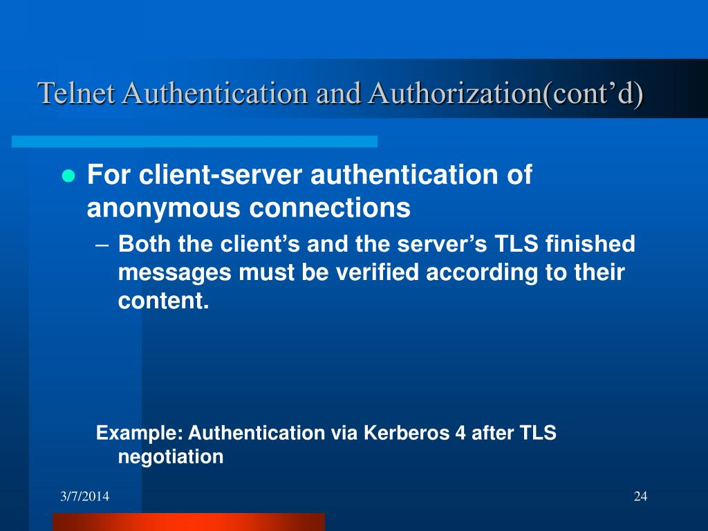 Telnet Authentication and Authorization(cont'd)