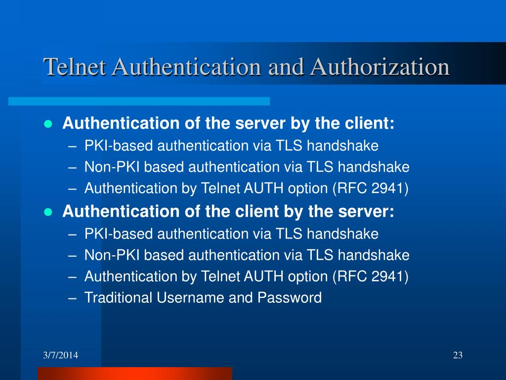 Telnet Authentication and Authorization
