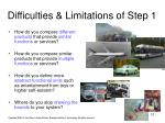 difficulties limitations of step 1