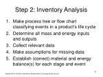 step 2 inventory analysis