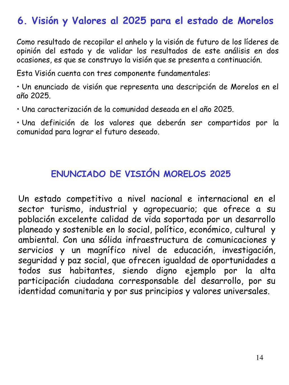 6. Visión y Valores al 2025 para el estado de Morelos