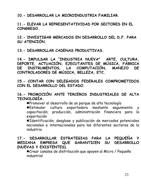 10.- DESARROLLAR LA MICROINDUSTRIA FAMILIAR.
