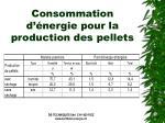 consommation d nergie pour la production des pellets