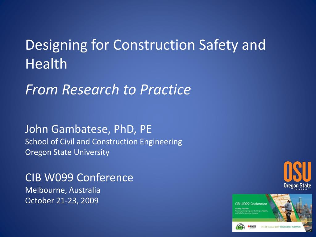 designing for construction safety and health from research to practice l.