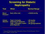 screening for diabetic nephropathy
