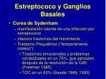 e streptococo y g anglios b asales