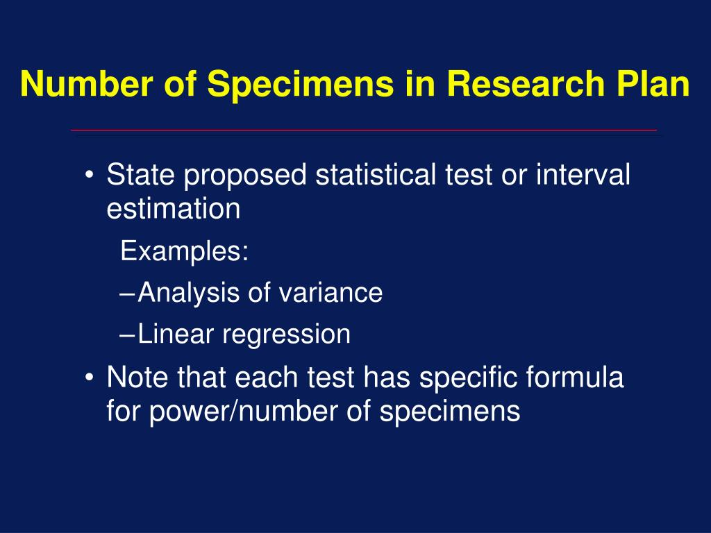Number of Specimens in Research Plan